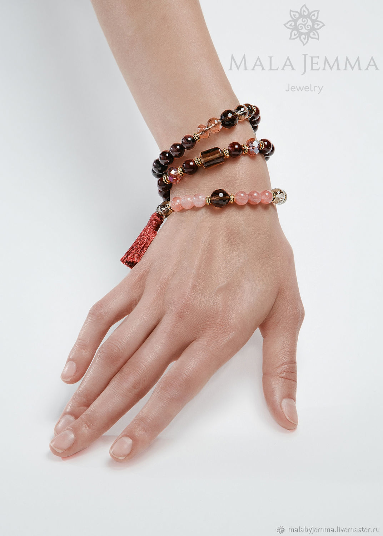 Triple bracelet-beads, Garnet bracelet, Bead bracelet, Magnitogorsk,  Фото №1