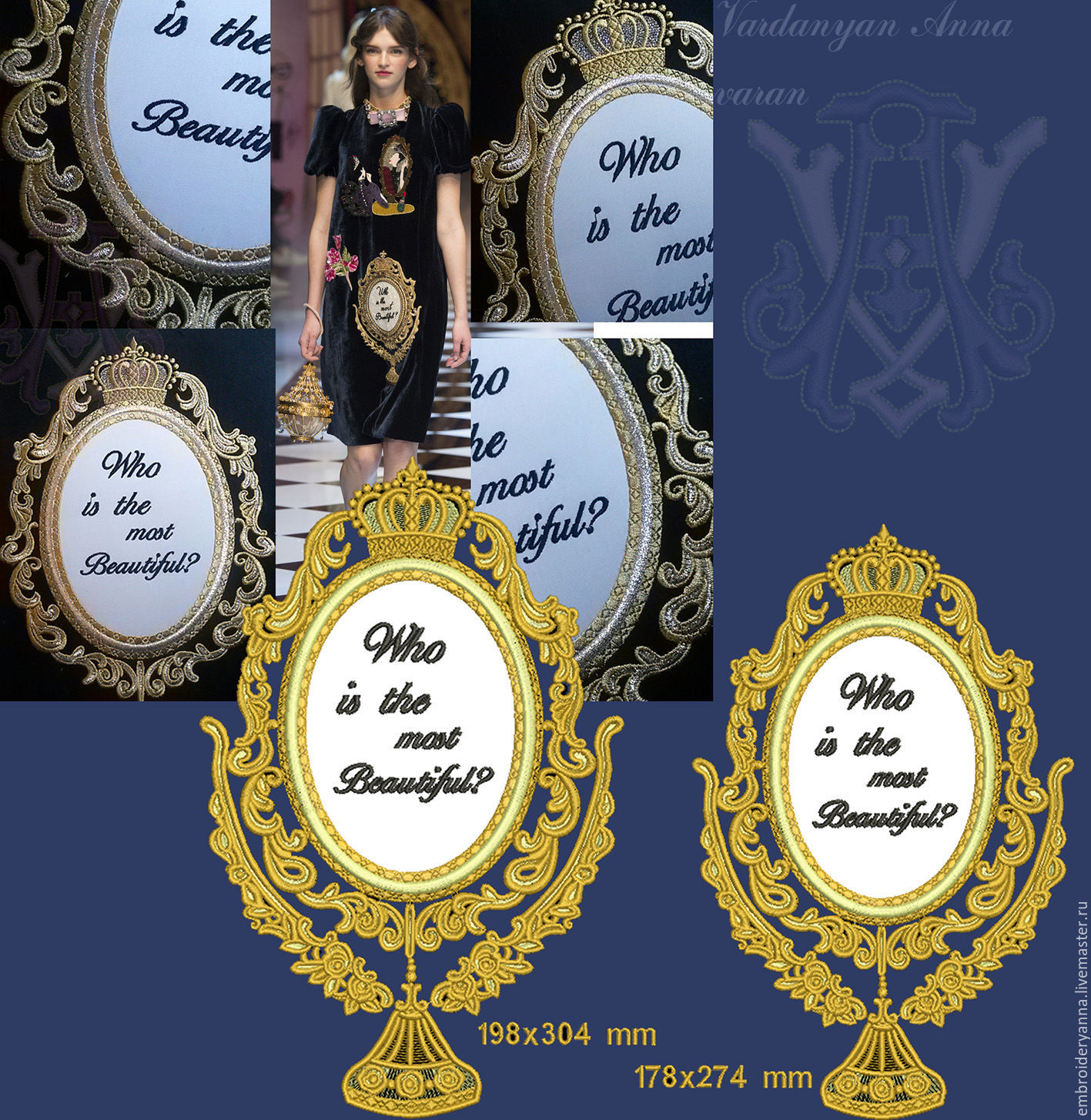 Design in machine embroidery. Mirror _2 explanation D&G, a few additional, Patterns for embroidery, Yerevan,  Фото №1