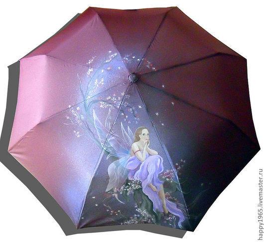 """Зонты ручной работы. Ярмарка Мастеров - ручная работа. Купить зонт ручной росписи """"Задумчивая фея"""". Handmade. Бордовый"""