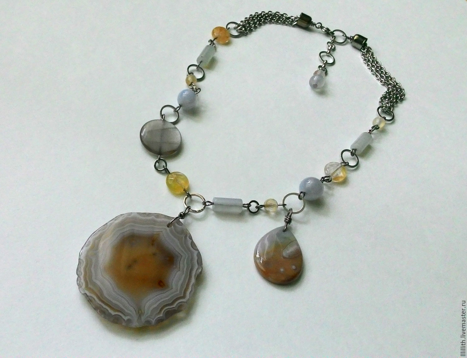 Necklace of agate, chalcedony and quartz, Necklace, Moscow,  Фото №1