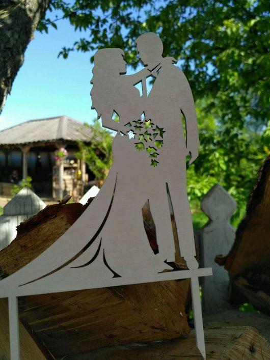 Топпер `Жених невеста`букет`  20 х 13 см  покрашен в белый  400 руб