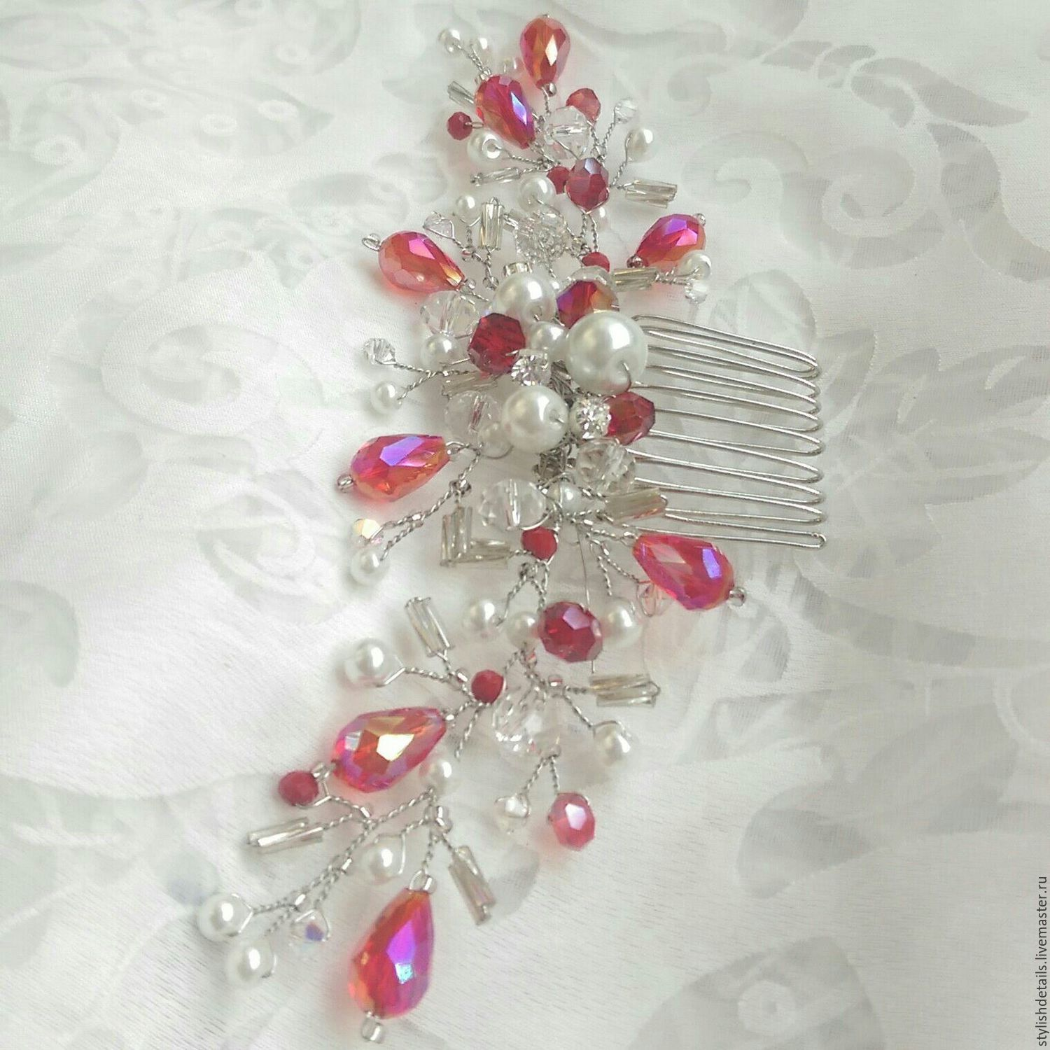 Bridal comb. red crystals. Decoration for hair, Hair Decoration, St. Petersburg,  Фото №1