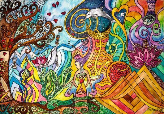 """Символизм ручной работы. Ярмарка Мастеров - ручная работа. Купить Картина """"Тайна времени"""". Handmade. Картина, космос, дельфин, время"""