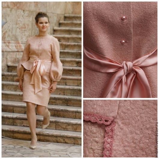 """Костюмы ручной работы. Ярмарка Мастеров - ручная работа. Купить Костюм """"Розовый жемчуг"""". Handmade. Бледно-розовый, валяная юбка"""