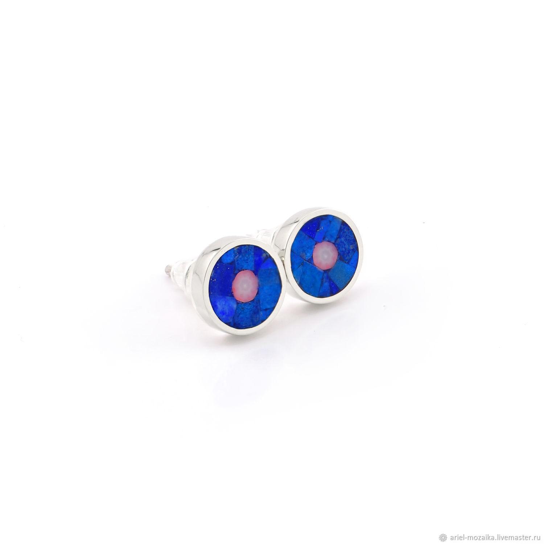 Stud earrings. Lapis lazuli and coral. Handmade earrings, Stud earrings, Moscow,  Фото №1