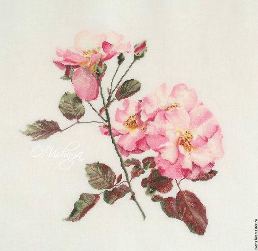 """Картины цветов ручной работы. Ярмарка Мастеров - ручная работа. Купить Вышитая картина """"Розовый шиповник"""".. Handmade. Картина, розы"""