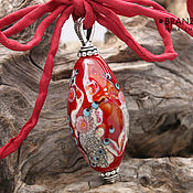 Украшения handmade. Livemaster - original item Joy - oval shape pendant lampwork bead. Handmade.