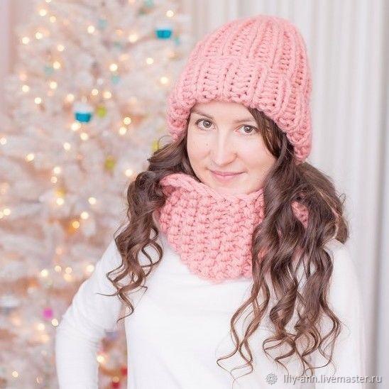 Вязаная шапка и снуд зимние, вязаная шапка, вязаный снуд, шапка зимняя