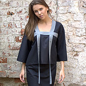 Одежда ручной работы. Ярмарка Мастеров - ручная работа Костюм с контрастной отделкой: топ и юбка. Handmade.