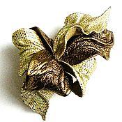 Украшения handmade. Livemaster - original item Flower brooch decoration gift for New Year Golden bronze. Handmade.