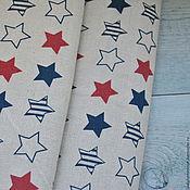 Материалы для творчества ручной работы. Ярмарка Мастеров - ручная работа Ткань лен небеленый Звезды 50х50см, 707. Handmade.