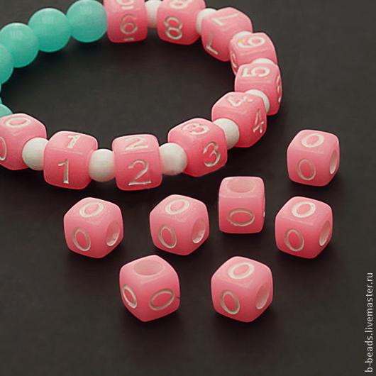 Для украшений ручной работы. Ярмарка Мастеров - ручная работа. Купить Бусины люминисцентные цифра 0 ( розовые ). Handmade.