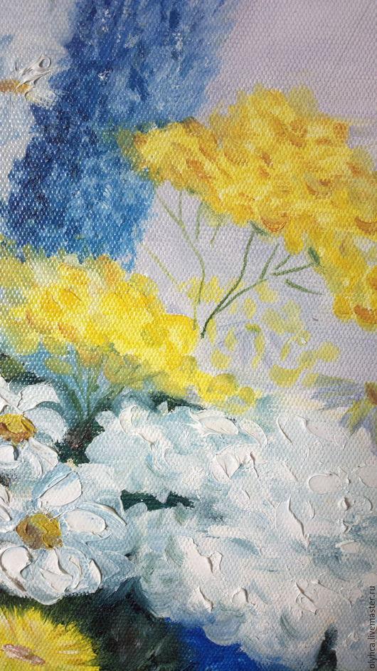 Картины цветов ручной работы. Ярмарка Мастеров - ручная работа. Купить Полевые цветы. Handmade. Желтый, пижма, замечательный подарок