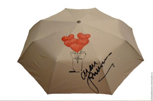 """Зонты ручной работы. Ярмарка Мастеров - ручная работа. Купить Зонт с ручной росписью """"Hearts"""". Handmade. Серый, зонт с рисунком"""