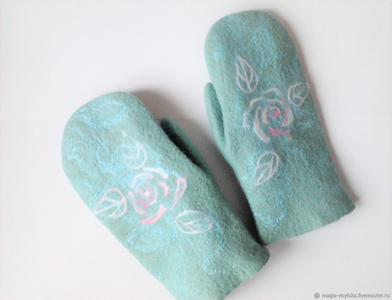 Felted mittens Mint, Mittens, Serpukhov,  Фото №1
