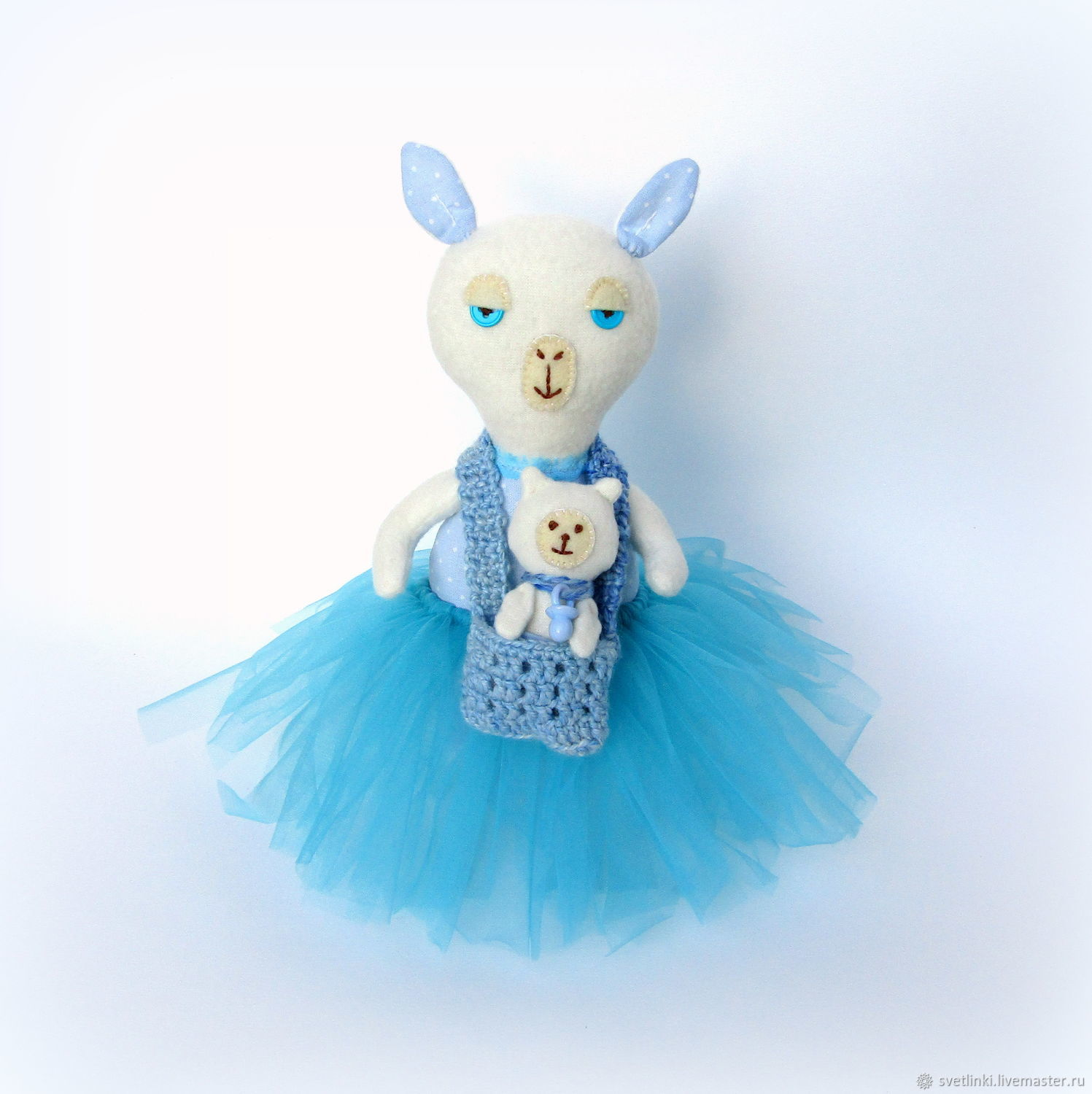 Soft toy Mama llama and baby llama baby. Gift for mom, pregnant, girls, girls. interior doll. Blue color. Svetlenky dolls and handmade toys. Fair Masters.