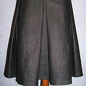 Одежда ручной работы. Ярмарка Мастеров - ручная работа Юбка на широкой кокетке со складками (шерсть-хлопок). Handmade.