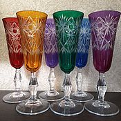 Стаканы винтажные ручной работы. Ярмарка Мастеров - ручная работа Фужеры бокалы цветное стекло 6 штук под шампанское. Handmade.