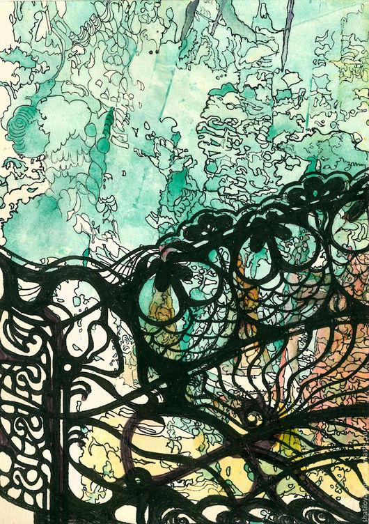 """Репродукции ручной работы. Ярмарка Мастеров - ручная работа. Купить """"Ажурная ограда """". Handmade. Картина для интерьера, на стену"""
