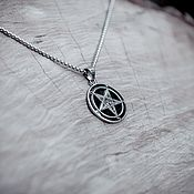 Украшения handmade. Livemaster - original item Double-sided steel pendant with the seals of Baphomet and Lucifer. Handmade.