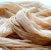 Scarves handmade. Livemaster - original item beige women`s silk scarf pashmina eco dyeing. Handmade.