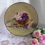 Посуда ручной работы. Ярмарка Мастеров - ручная работа Тарелочка Розы и фиалки. Handmade.