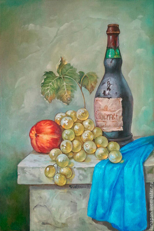 Натюрморт ручной работы. Ярмарка Мастеров - ручная работа. Купить Вино и виноград. Handmade. Морская волна, холст, натюрморт, вино