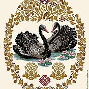 "Материалы для творчества ручной работы. Ярмарка Мастеров - ручная работа Схема вышивки крестом ""Семейный оберег"" черные белые лебеди. Handmade."