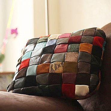Для дома и интерьера handmade. Livemaster - original item Pillow: Leather pillow for home and car Color. Handmade.