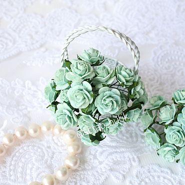 Цветы и флористика ручной работы. Ярмарка Мастеров - ручная работа Бумажные розы 1,5 см Мятные Цветы для скрапбукинга. Handmade.
