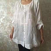 Одежда ручной работы. Ярмарка Мастеров - ручная работа Льняная блузка с вышивкой большой размер. Handmade.