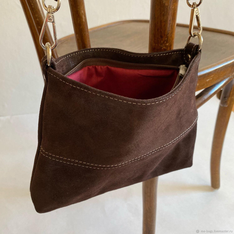 Malta. Маленькая коричневая сумочка из кожи с текстильным ремнём, Классическая сумка, Санкт-Петербург,  Фото №1