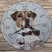"""Для дома и интерьера ручной работы. Ярмарка Мастеров - ручная работа Часы """"Джек рассел терьер шулер"""". Handmade."""