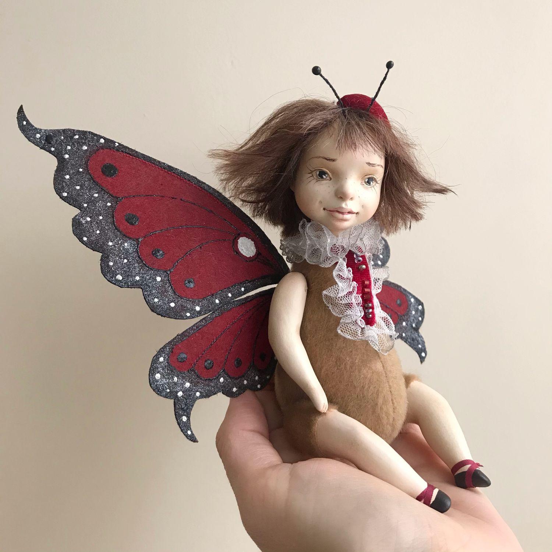 Красная бабочка. Авторская коллекционная подвижная кукла, Куклы и пупсы, Москва,  Фото №1
