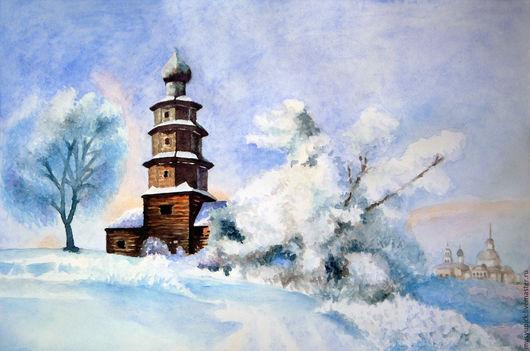 Пейзаж ручной работы. Ярмарка Мастеров - ручная работа. Купить Акварель Зимний пейзаж с церковью. Handmade. Комбинированный, церковь, зима