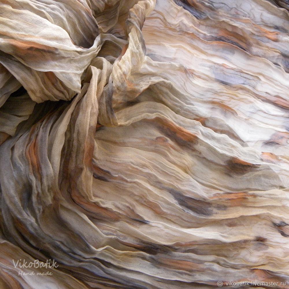 Леопардовый шифоновый жатый шарф палантин Лео. Шелк 100%, Шарфы, Кисловодск, Фото №1