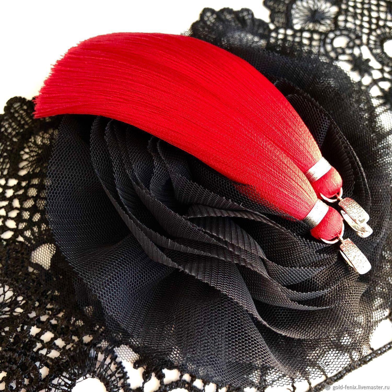 Earrings tassels red scarlet bright red, Tassel earrings, St. Petersburg,  Фото №1