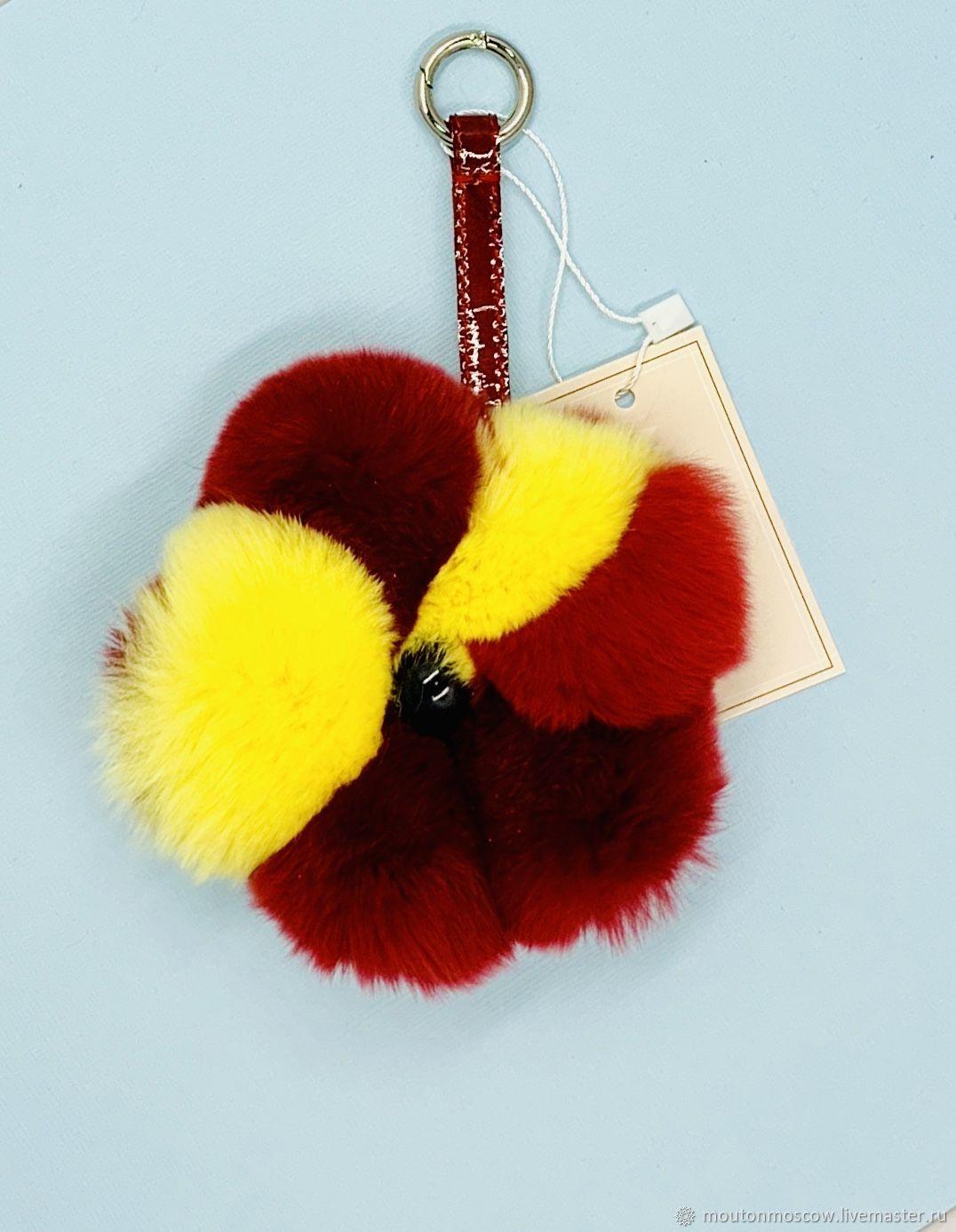 Брелок-цветок бордовый с желтым, Брелок, Москва,  Фото №1
