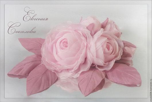 Комплекты украшений ручной работы. Ярмарка Мастеров - ручная работа. Купить Цветы на платье Розовые розы. Handmade. Розовый, на свадьбу