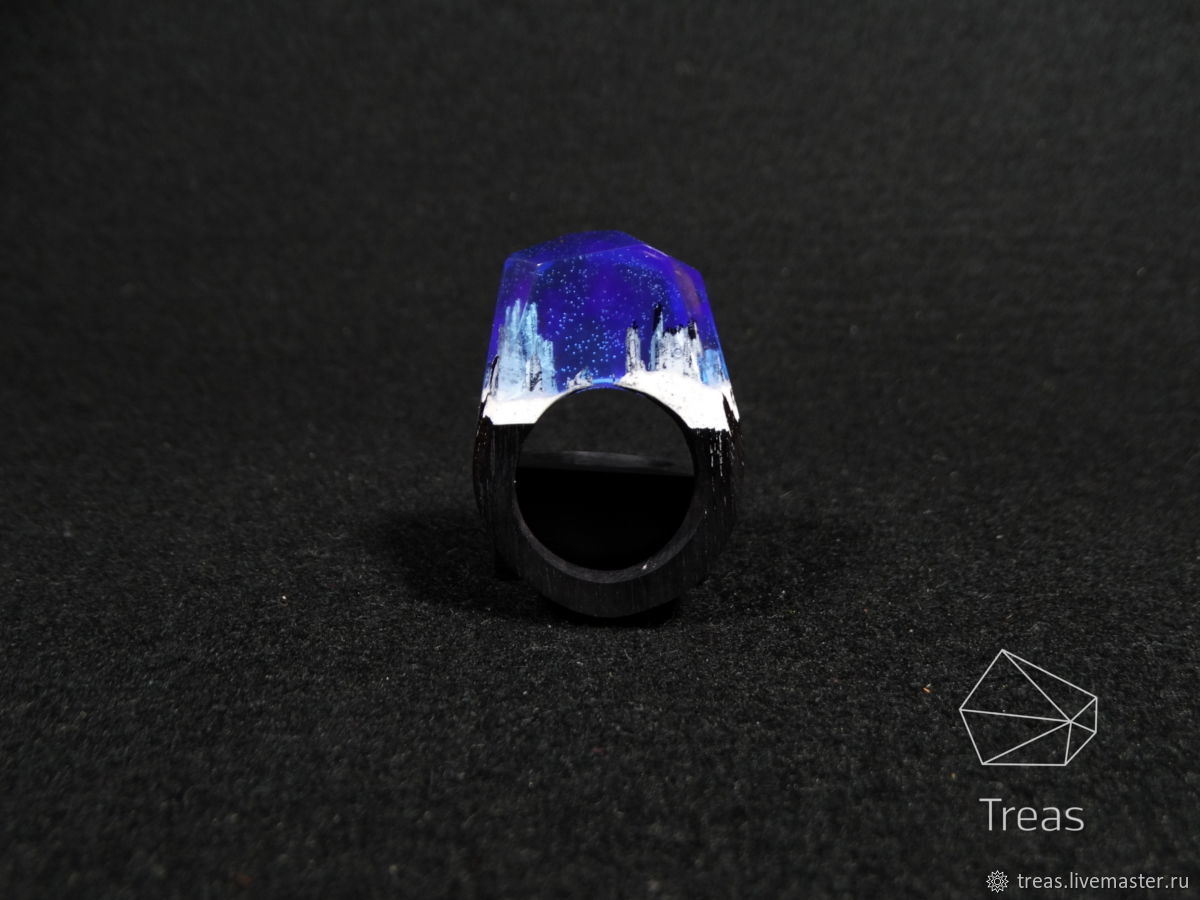 Ring 'Northern lights' made of black hornbeam and jewelry resin, Rings, Volgograd,  Фото №1