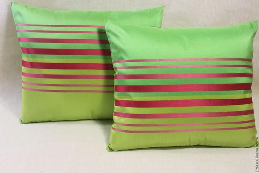 Текстиль, ковры ручной работы. Ярмарка Мастеров - ручная работа. Купить Наволочки для интерьера из шелковой ткани. Handmade. Салатовый
