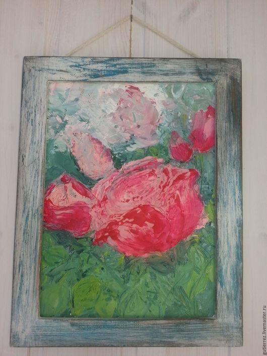 Картины цветов ручной работы. Ярмарка Мастеров - ручная работа. Купить картина маслом  роза шебби-шик в раме. Handmade.