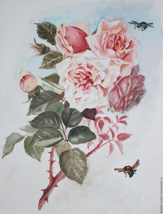 """Картины цветов ручной работы. Ярмарка Мастеров - ручная работа. Купить акварель """"Розы """" (1). Handmade. Комбинированный, цветы"""