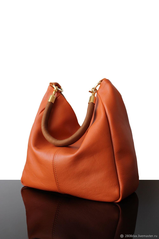 ae9dff1def Large leather orange bag, shoulder bag, hobo – shop online on Livemaster  with shipping - IIPS7COM | Bordeaux