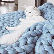 "Для дома и интерьера handmade. Livemaster - original item Плед ""Жемчужно-голубой"" М из шерсти мериноса. Handmade."