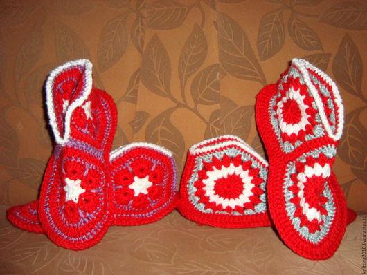 Обувь ручной работы. Ярмарка Мастеров - ручная работа. Купить домашни тапочки вязани. Handmade. Ручная работа, шерсть акрил