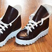 Обувь ручной работы. Ярмарка Мастеров - ручная работа Зимние кожаные женские ботинки. Handmade.