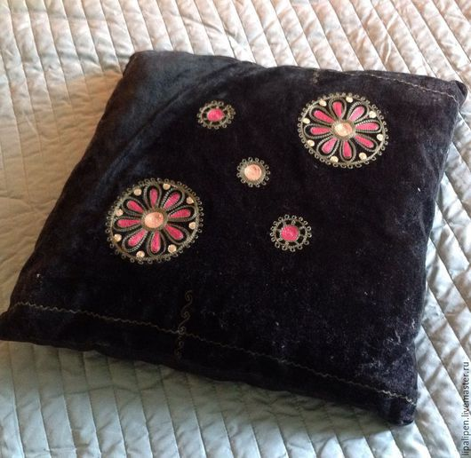 Текстиль, ковры ручной работы. Ярмарка Мастеров - ручная работа. Купить Наволочка бархатная винтаж. Handmade. Разноцветный, чехол на подушку