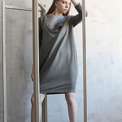 Одежда handmade. Livemaster - original item Cocoon dress in natural range. Handmade.