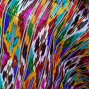 Материалы для творчества ручной работы. Ярмарка Мастеров - ручная работа Узбекский винтажный шелковый икат Хан атлас 1,5 метра. Handmade.